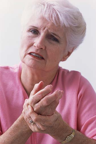 Woman with arthritis pain